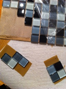 Tiles being assembled into Tetris pieces